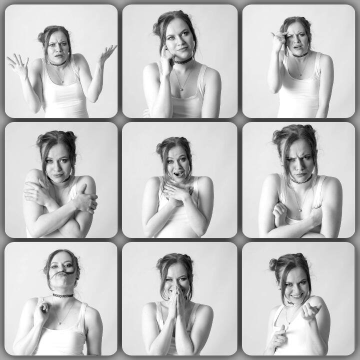 Roksi, Applecore, Cork, Model, Studio, Photoshoot, Glamour, Portrait, collage, expressions, black and white