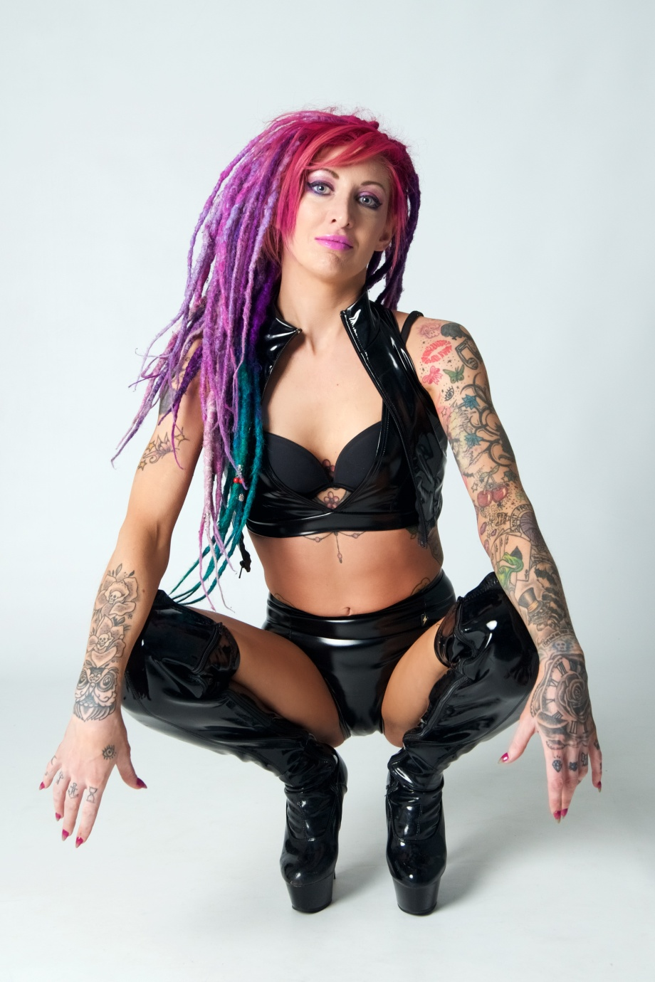 glamour, studio, dreads, tattoos, sexy