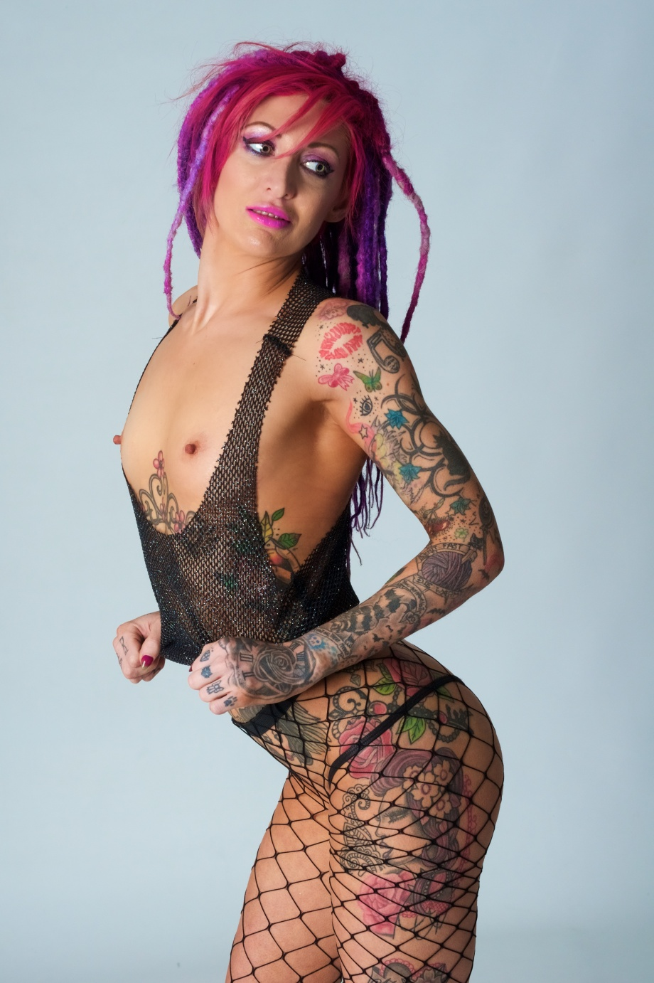 glamour, studio, dreads, tattoos, sexy, topless