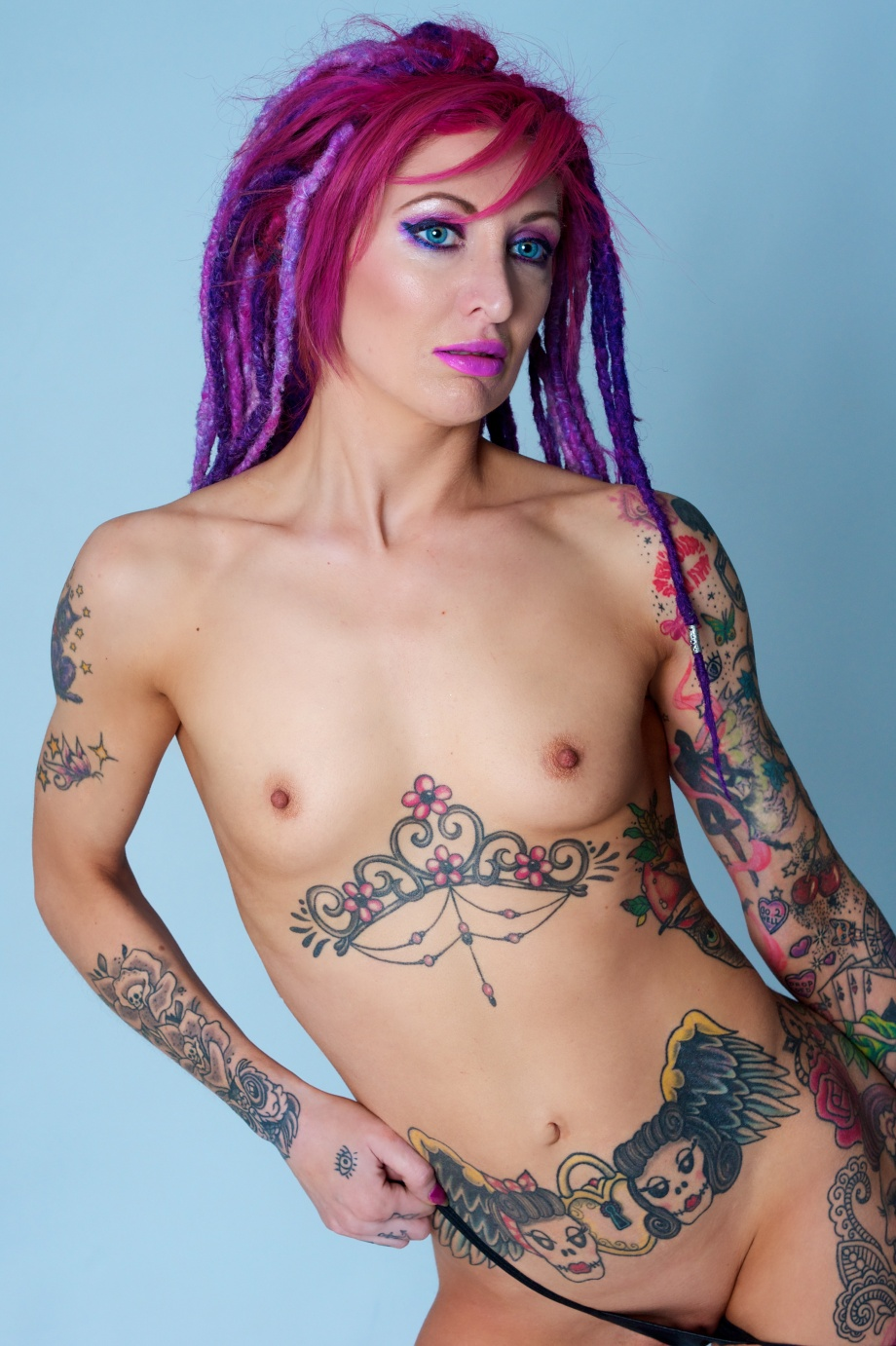 glamour, studio, dreads, tattoos, sexy, topless, nude