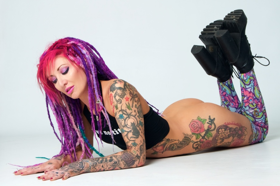 glamour, studio, dreads, tattoos, sexy, bum, nude