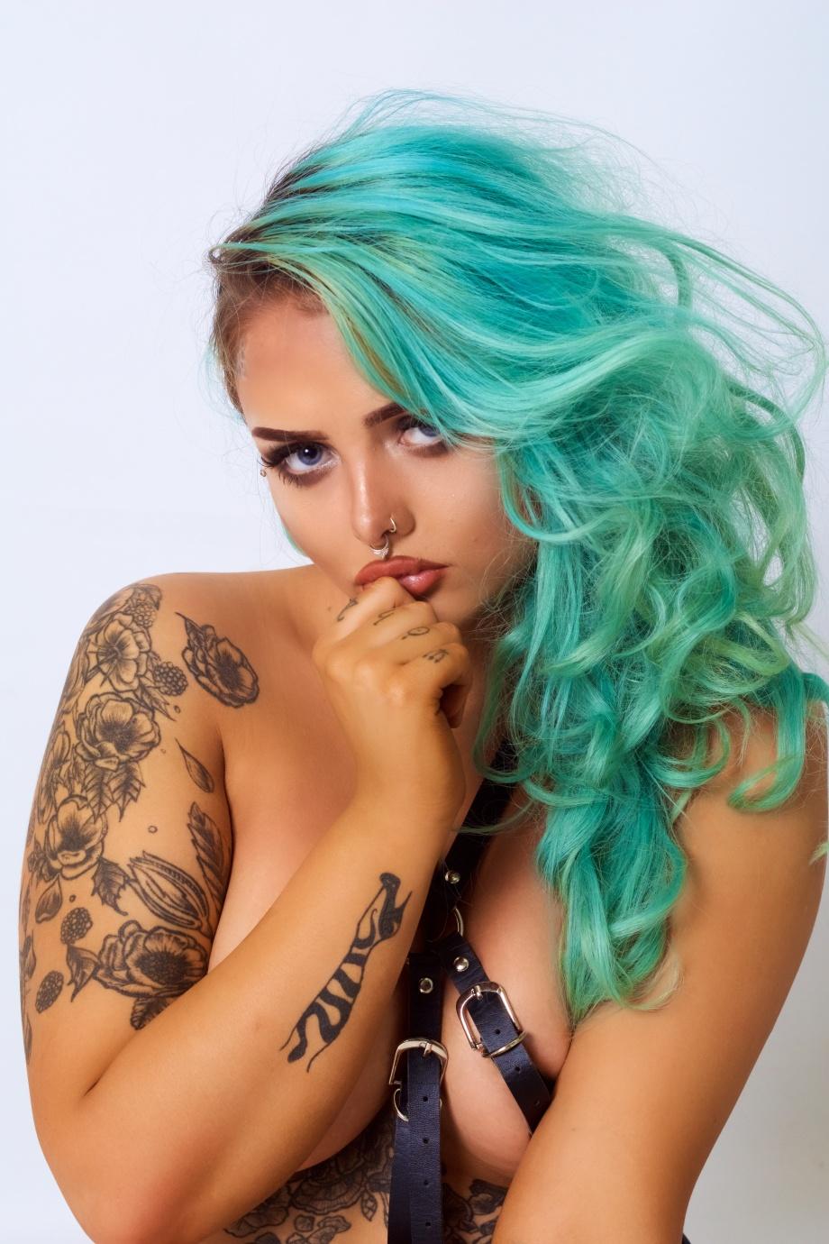 Katie Kitten, alternative, glamour, studio, tattoos, cork, ireland, topless, implied