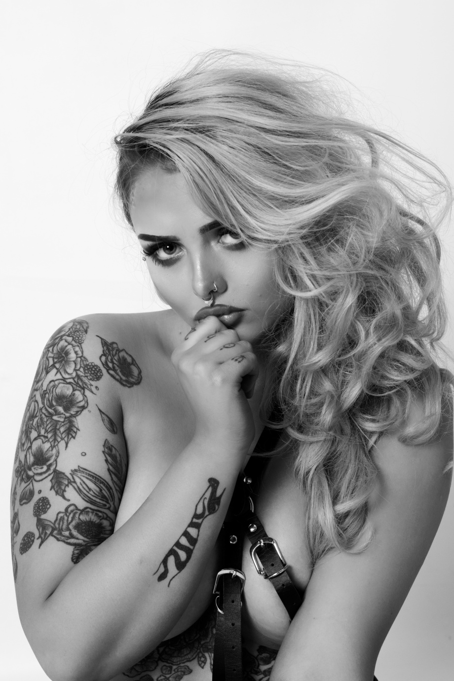 Katie Kitten, alternative, glamour, studio, tattoos, cork, ireland, black and white, topless, implied