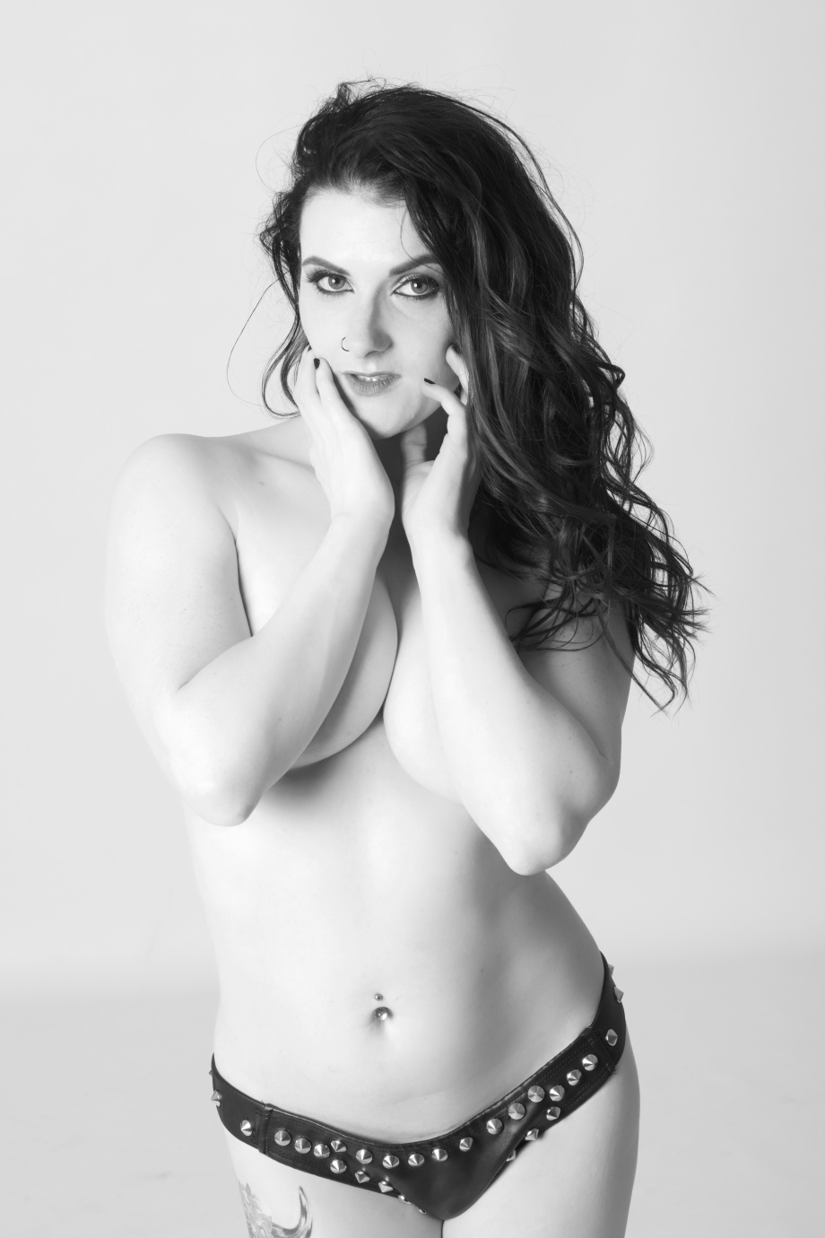 cherry chains, pole, dance, pole training, topless, black and white, implied, glamour, studio