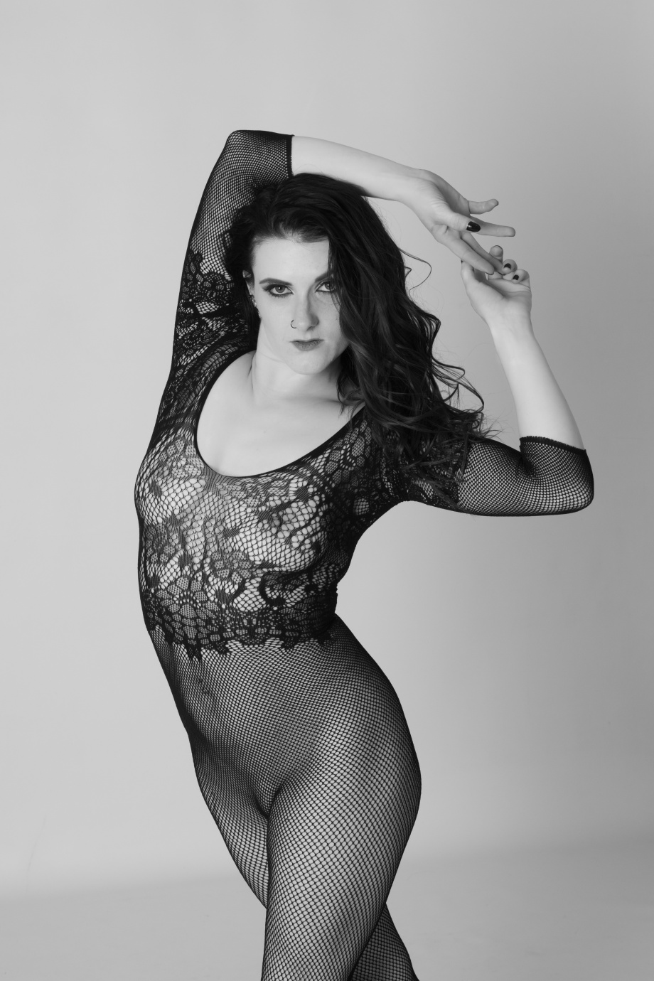stacey spykes, stacey duggan, pole, dance, pole training, topless, black and white, implied, glamour, studio