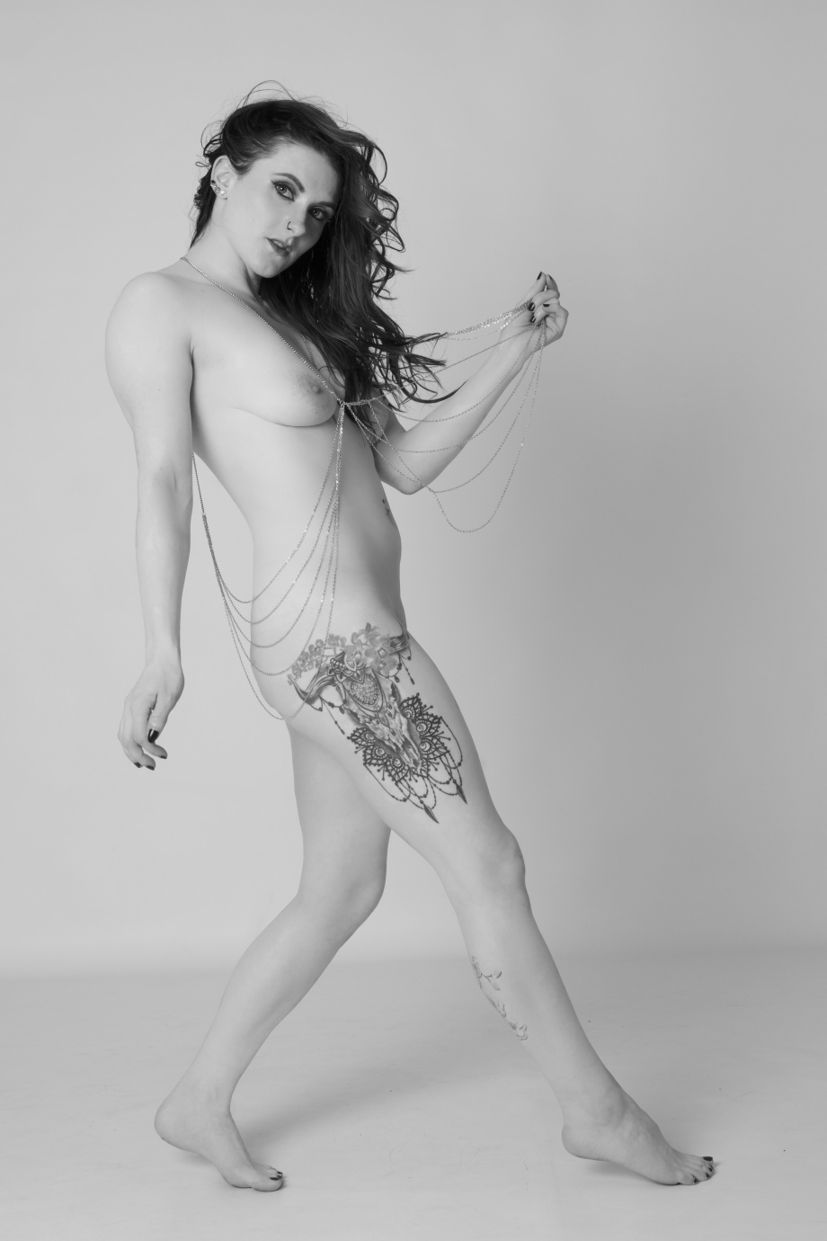 cherry chains, pole, dance, pole training, topless, black and white, implied, glamour, studio, nude