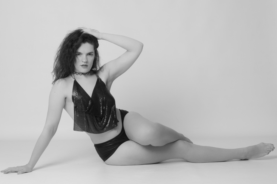 Glamour, black and white, no makeup, cork, topless, implied, hair