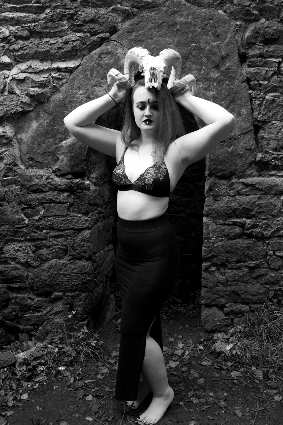 skull, Kashmira, black and white, Carey's Castle, glamour, cork, vintage