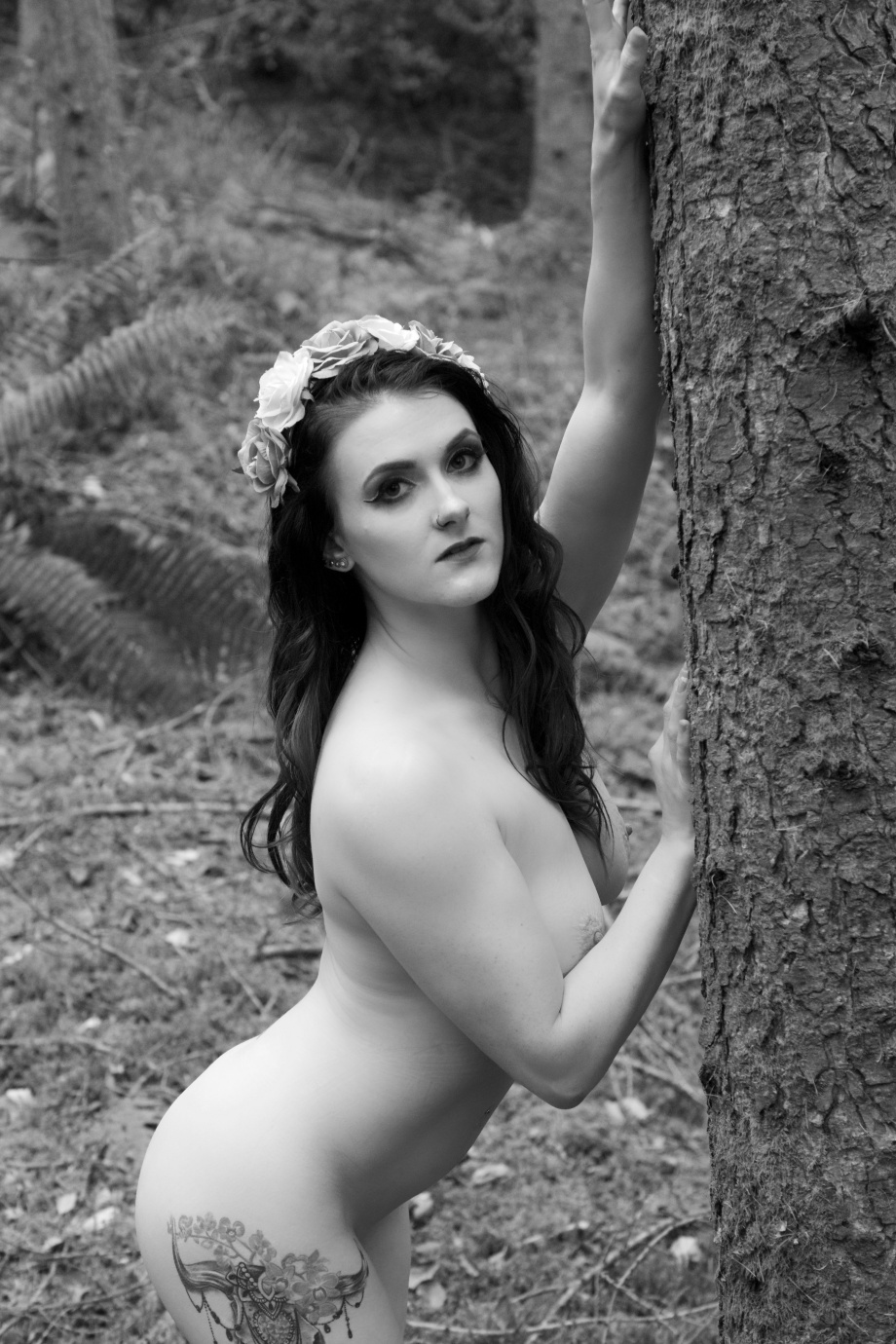 Cherry Chains, black and white, Carey's Castle, glamour, cork, vintage, nude, topless