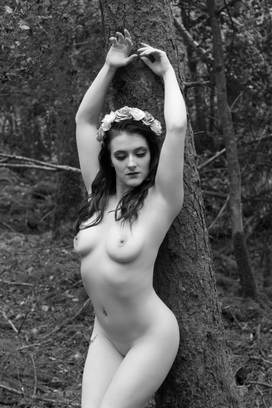 Cherry Chains, topless, black and white, Carey's Castle, glamour, cork, vintage, nude