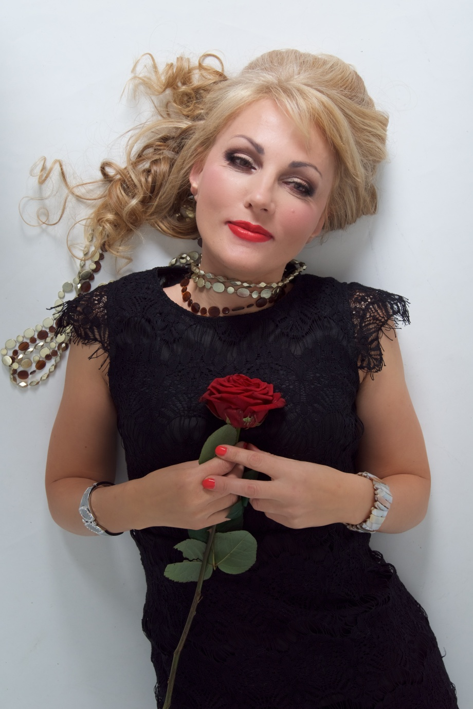 glamour, portrait, studio, rose