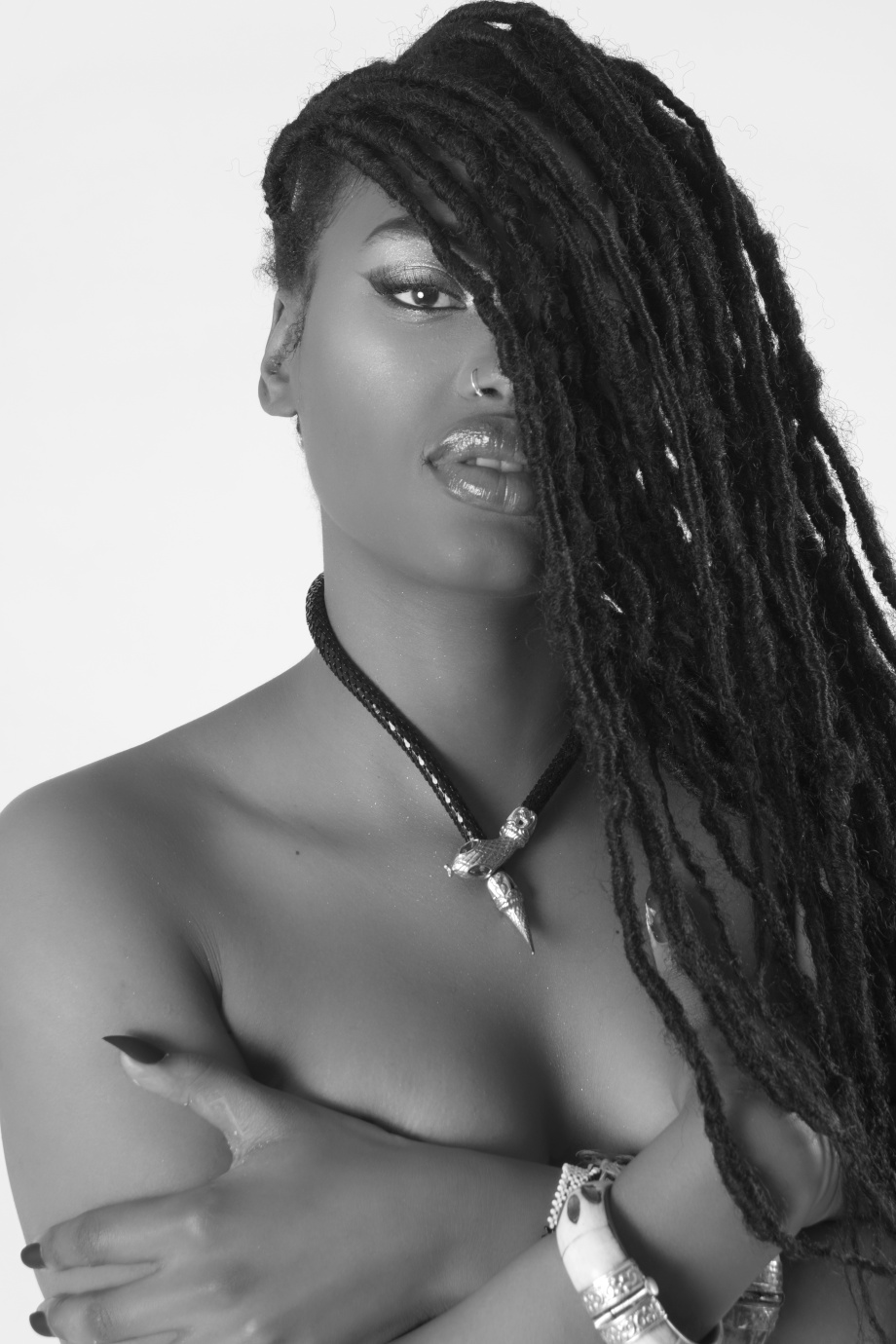 minnie marley, singer, soul, alternative, tattoos, glamour, studio, lingerie, topless, implied, black and white