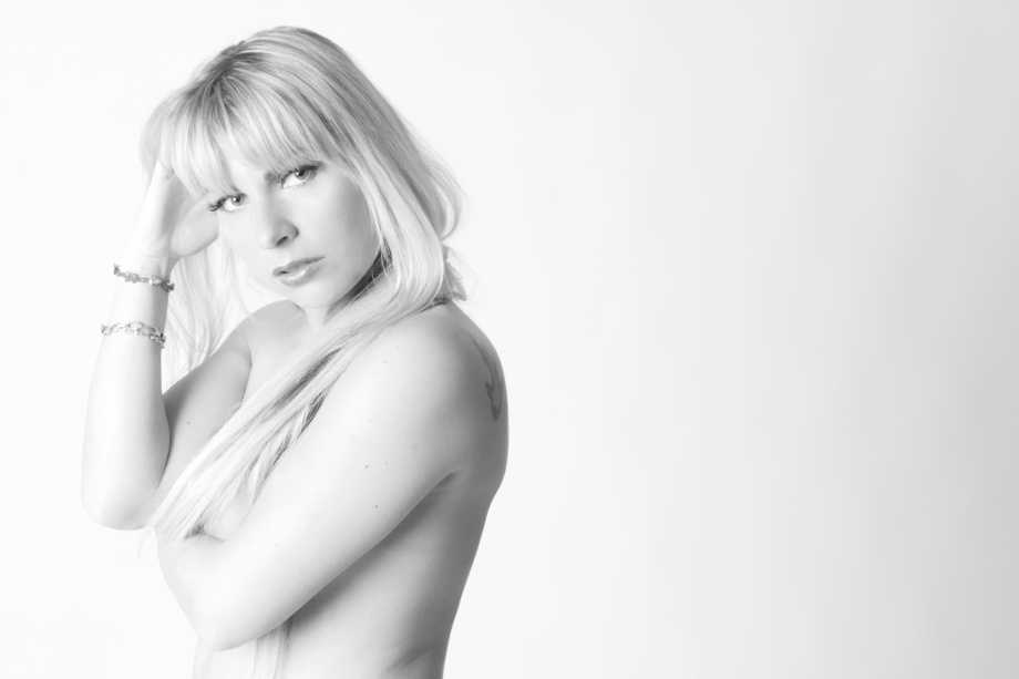 glamour, photoshoot, model, ireland, studio, topless, implied, black and white, cork, blonde