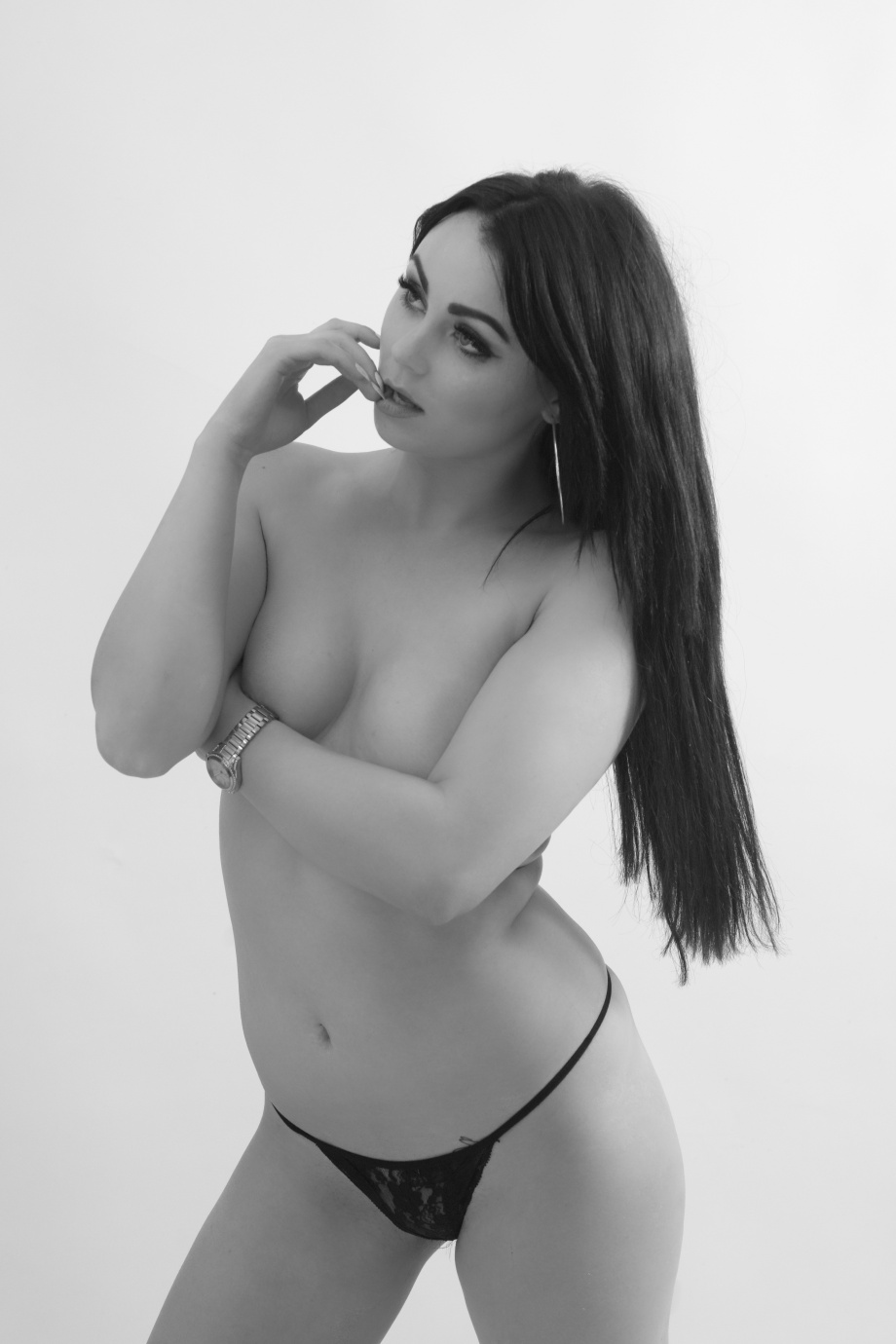 glamour, topless, implied, black and white, cork, ireland, studio shoot