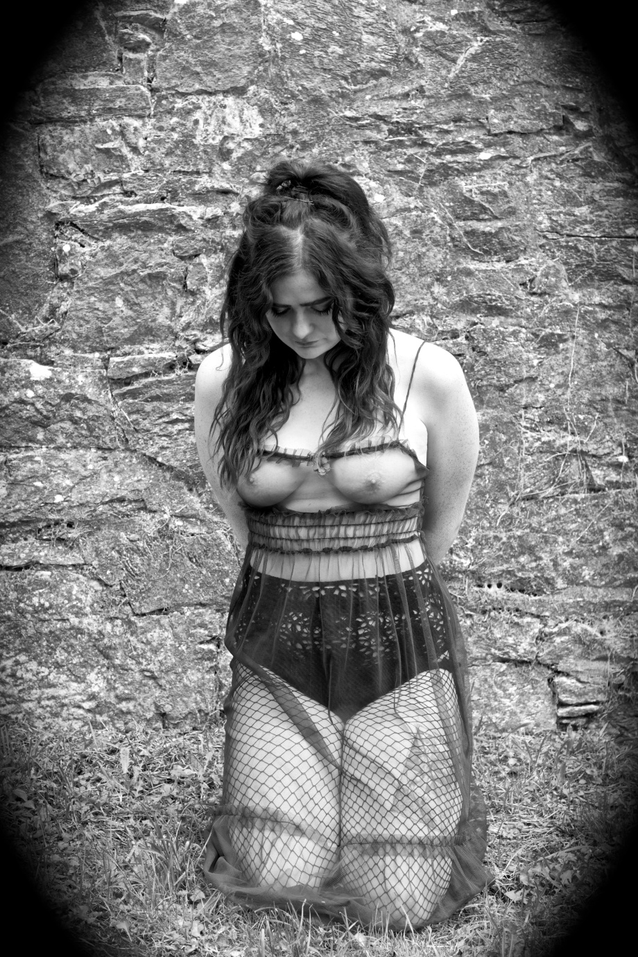 alternative, glamour, cork, kilcrea, abbey, black and white, gothic, eyes, samhain, silent movie, topless, implied