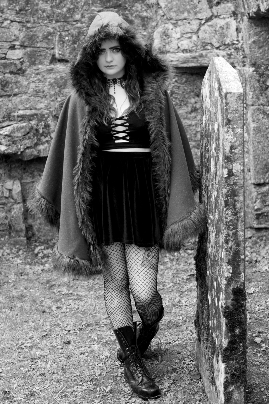 alternative, glamour, cork, kilcrea, abbey, black and white, gothic, eyes, samhain, silent movie