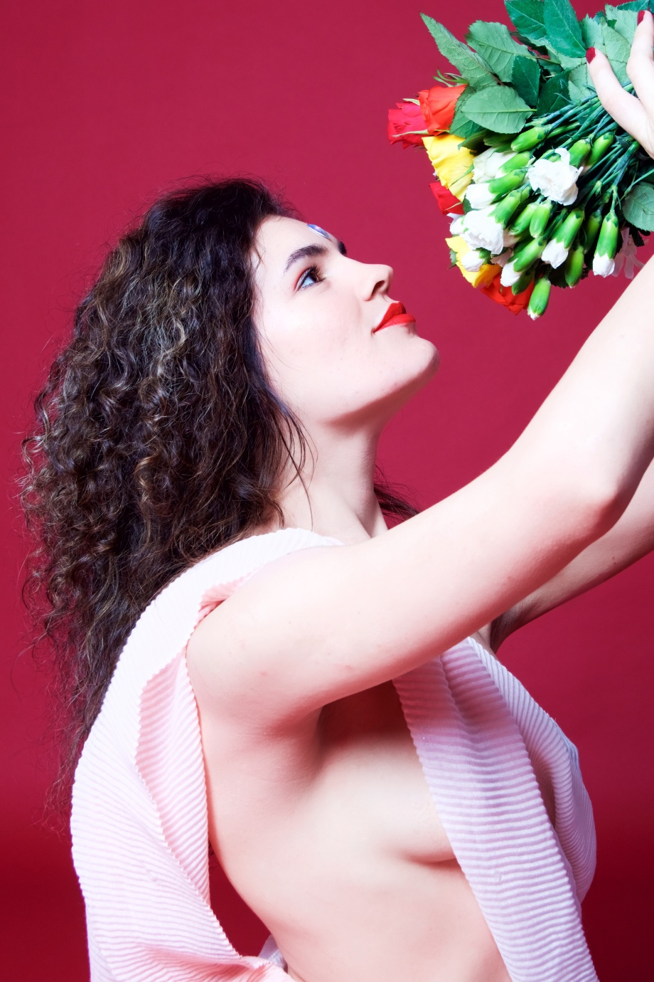 red, flowers, topless, implied, studio, femininity, hair, cork, models, ireland
