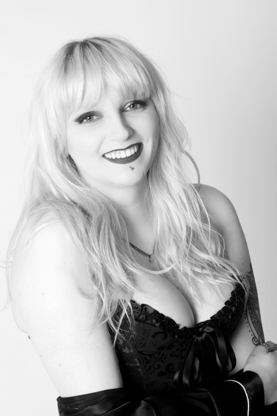 portrait, black and white, studio, glamour, ireland, cork, blonde, lingerie