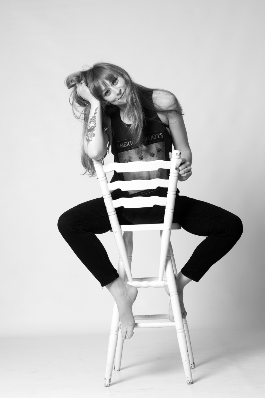 cork, portrait, glamour, studio shoot, jeans, denims, black and white