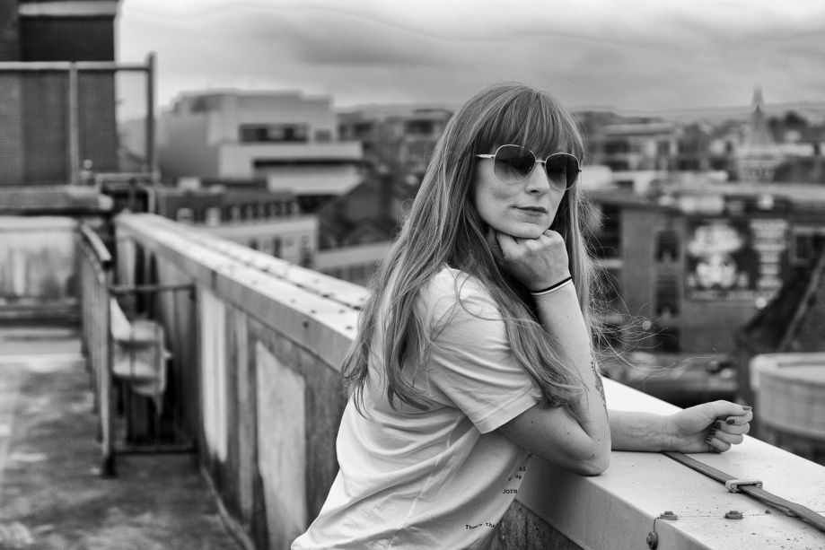 cork, portrait, glamour, cityshoot, carpark, black and white