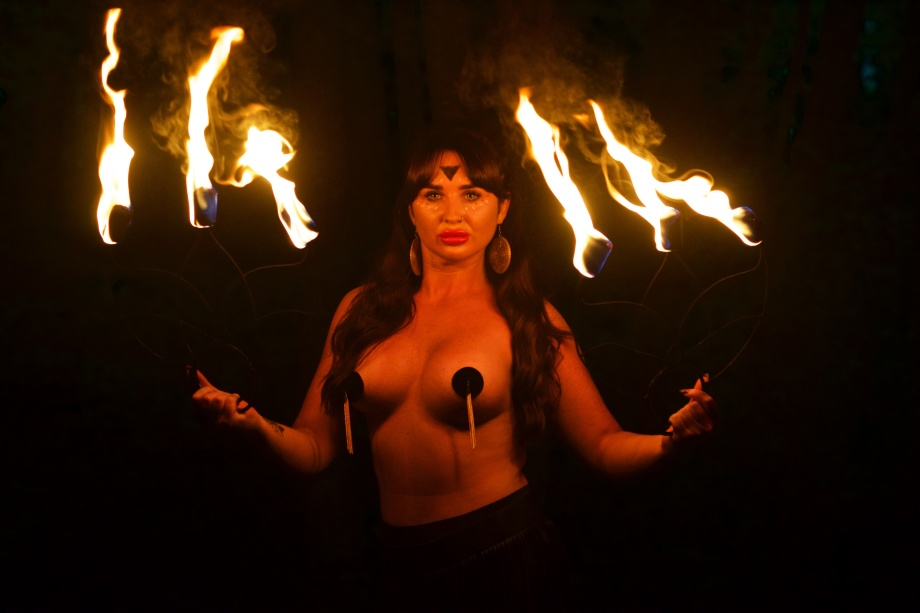 cork, glamour, topless, model, fire performer, fire fans, alternative