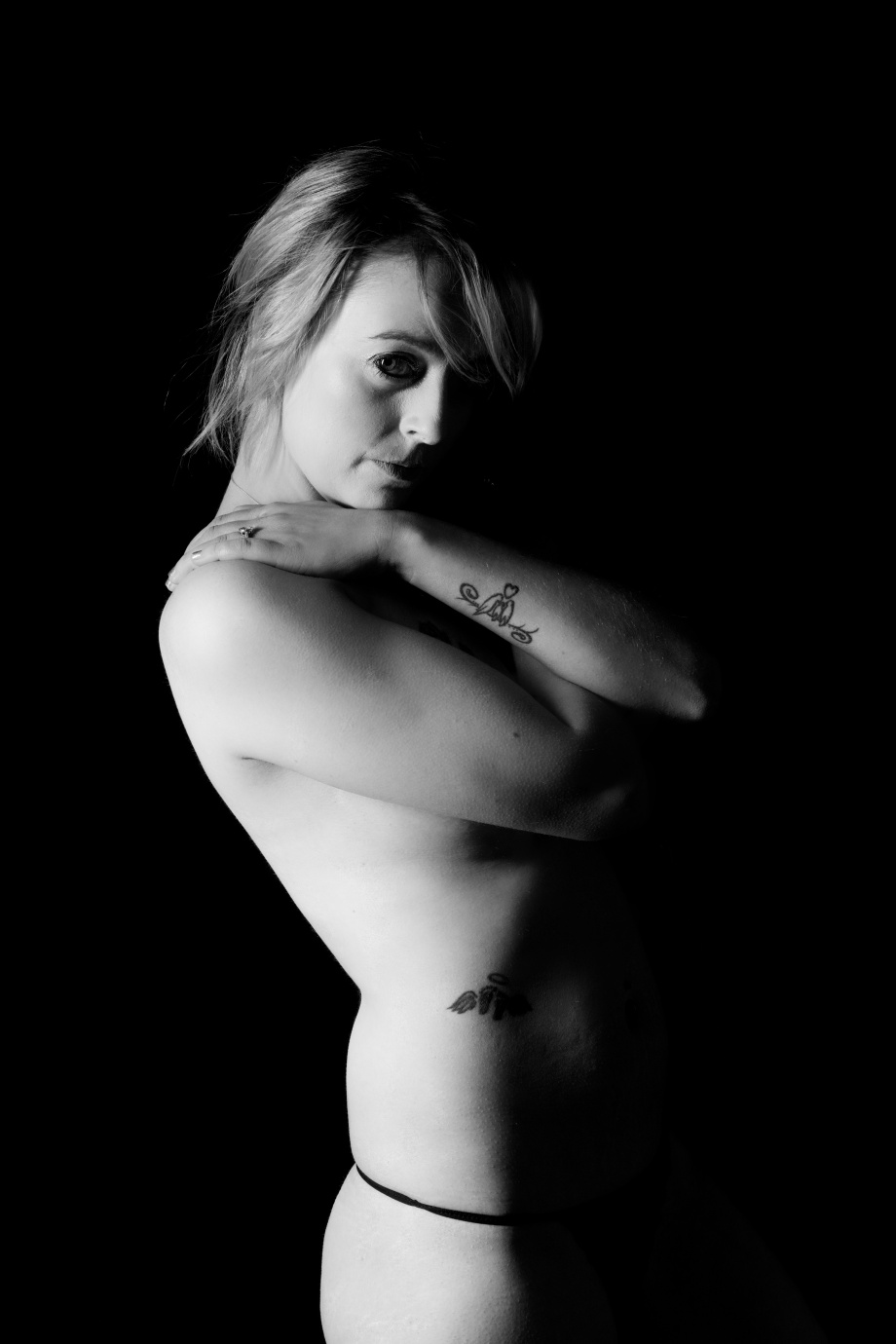 Cliona B, Glamour, Barbarella Band, photoshoot, studio, boudoir, topless