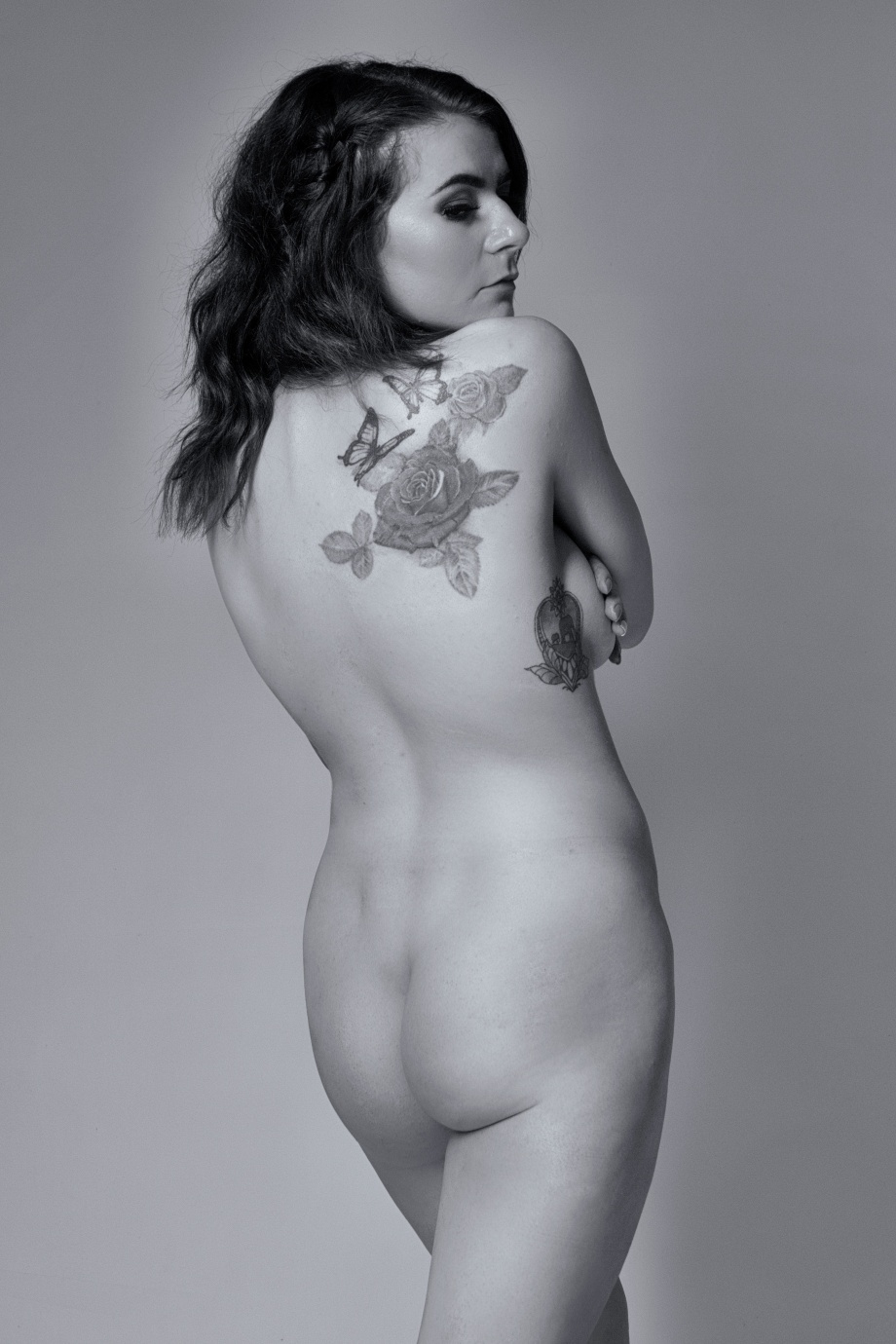 glamour, cork, studio shoot, boudoir, tattoos, nude, implied