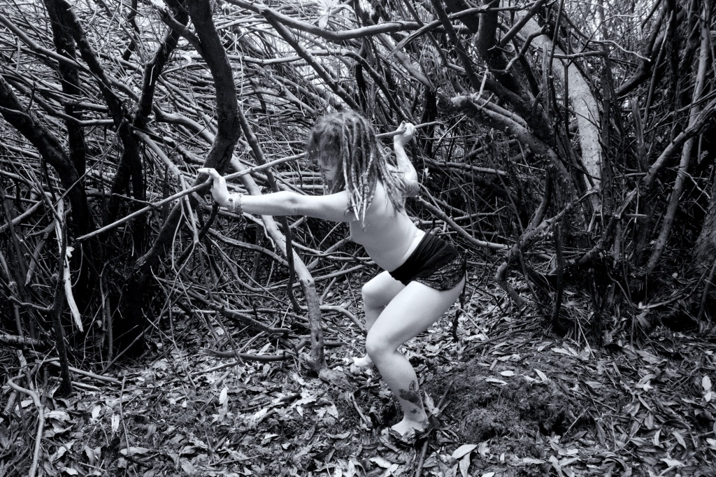 Forest Shoot, Alt Glamour, Cork, Ireland, black and white, topless